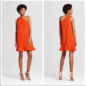 Victoria Beckham for Target orange scalloped dress